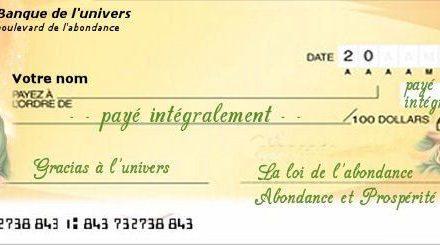 Chèque d'abondance – c'est gratuit et ça marche !