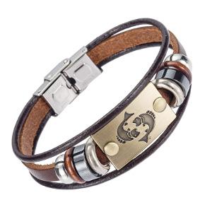 Bracelet signe astrologique en cuir