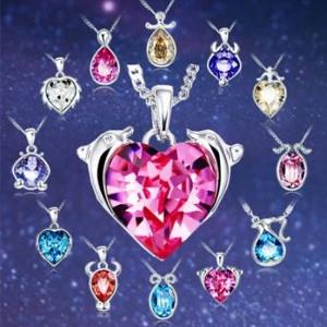Collier avec pendentif en cristal représentant chaque signe du zodiaque